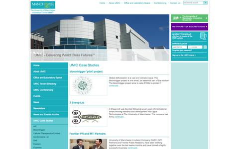 Screenshot of Case Studies Page umic.co.uk - UMIC - University of Manchester Innovation Centre | UMIC Case Studies | - captured Oct. 3, 2014