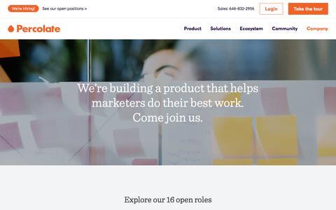 Screenshot of Jobs Page percolate.com - Careers @ Percolate - captured July 29, 2018