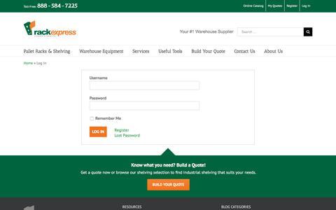 Screenshot of Login Page rackexpress.com - Log In - Material Handling Equipment - Rack Express - captured June 11, 2017