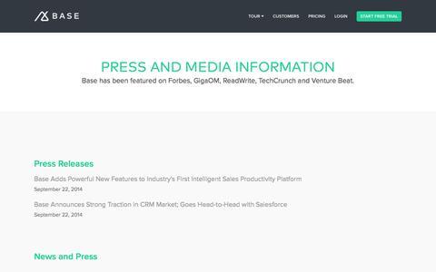 Screenshot of Press Page getbase.com - Press | Base CRM - captured Oct. 29, 2014