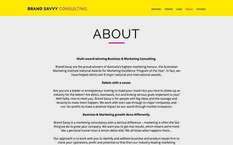 Screenshot of About Page brandsavvy.com.au - About | Brisbane | Brand Savy Consulting - captured Oct. 6, 2018