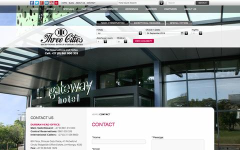Screenshot of Contact Page threecities.co.za - Contact - Hotels Durban | Hotels Gauteng | Hotels Cape Town - captured Sept. 24, 2014