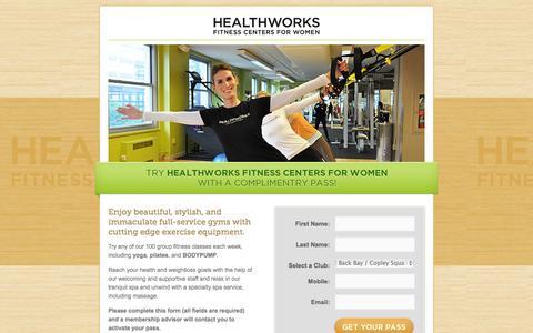 Screenshot of Landing Page healthworksfitness.com - Healthworks - Fitness Centers for Women - captured Oct. 27, 2014
