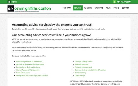 Screenshot of Services Page dfkogc.com - Accounting advice services by the experts you can trust! - captured Nov. 23, 2016