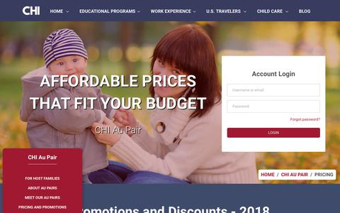 Screenshot of Pricing Page chinet.org - CHI | Affordable prices that fit your budget - captured Sept. 23, 2018