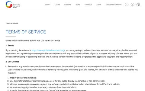 Screenshot of Terms Page globalindianschool.org - Terms of Service - Global Indian International School - captured Dec. 2, 2018