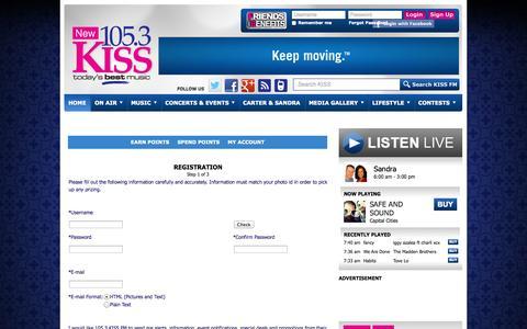 Screenshot of Signup Page 1053kissfm.com - 105.3 KISS FM - Registration - captured Sept. 23, 2014