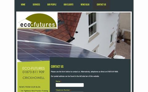 Screenshot of Contact Page eco-futures.co.uk - Contact Eco-FuturesEco-Futures - captured Sept. 29, 2014