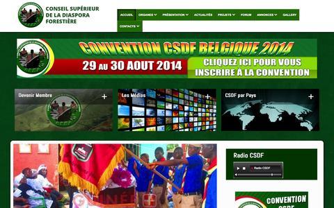 Screenshot of Home Page lecsdf.org - Le Conseil Supérieur de la Diaspora Forestière - Accueil - captured Sept. 23, 2014