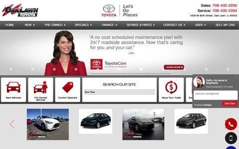 Screenshot of Home Page oaklawntoyota.com - Toyota Dealer Oak Lawn IL New & Used Cars near Chicago - Oak Lawn Toyota - captured Jan. 13, 2017