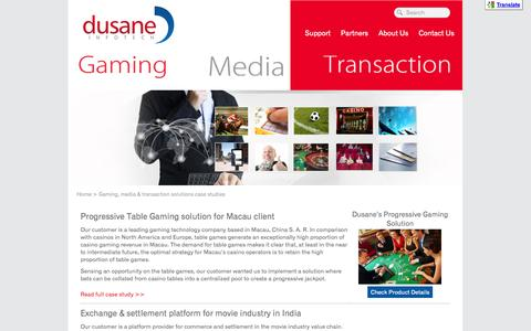 Screenshot of Case Studies Page dusaneinfotech.com - Case studies | Gaming, media & transaction solutions - captured Oct. 5, 2014
