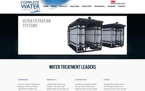 Screenshot of Home Page completeh20.com - Complete H20 – Water Softeners | Reverse Osmosis |  Multi Media Filters | Resin | DI Water | Filters | Bag Filters - captured Oct. 2, 2014