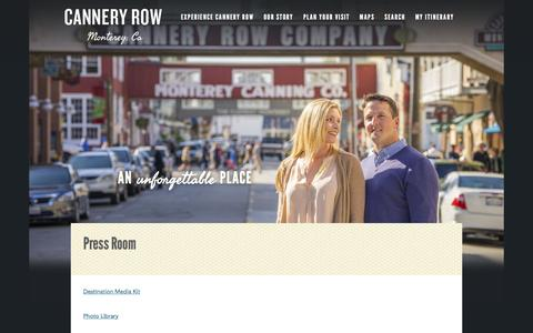 Screenshot of Press Page canneryrow.com - Cannery Row | Press Room - captured Sept. 9, 2016