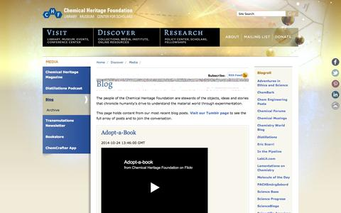 Screenshot of Blog chemheritage.org - Blog | Chemical Heritage Foundation - captured Oct. 27, 2014