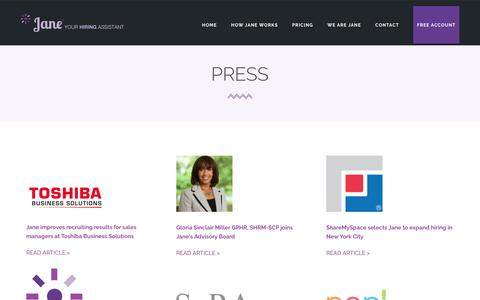 Screenshot of Press Page janehires.com - Press | JaneHires - Hiring Assistant for Human Resource Managers - HR Managers - captured May 21, 2016