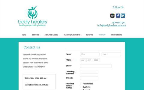 Screenshot of Contact Page bodyhealers.com.au - body healers, Corporate Health, Brisbane, Gold Coast, Byron Bay - captured June 3, 2017