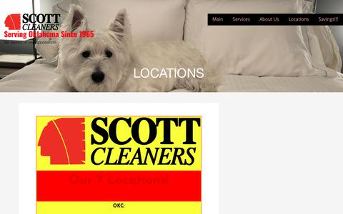 Screenshot of Locations Page scottcleanersinc.com - Locations – Serving Oklahoma Since 1965 - captured Oct. 24, 2018