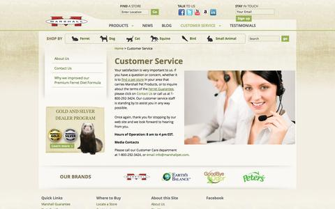 Screenshot of Support Page marshallpet.com - Customer Service - Marshall Pet Products - captured Oct. 27, 2014