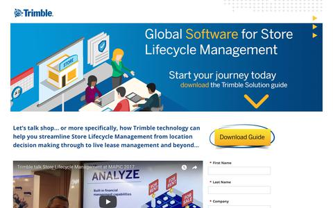 Screenshot of Landing Page trimble.com - Store Lifecycle Management - Download Guide - captured March 3, 2018