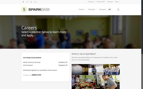 Screenshot of Jobs Page sparkbase.com - Careers - SparkBase - captured June 17, 2015
