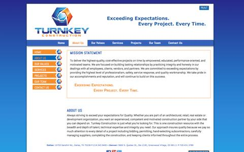 Screenshot of About Page turnkeyconst.com - About Us, Mission Statement - captured Oct. 7, 2014