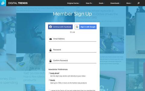 Screenshot of Signup Page digitaltrends.com - Member Sign Up | Digital Trends - captured Oct. 5, 2019