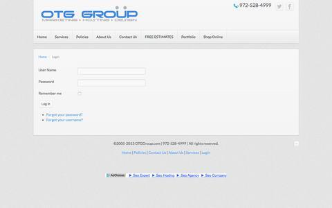 Screenshot of Login Page otggroup.com - Login - OTGGROUP.COM | MARKETING | DESIGN | HOSTING - captured March 31, 2016