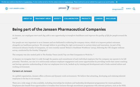 Screenshot of Jobs Page janssen.com - Being part of Janssen | Janssen UK - captured Jan. 2, 2017