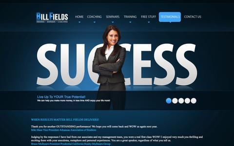 Screenshot of Testimonials Page billfields.com - Bill Fields - Bill Fields - Testimonials - captured Oct. 5, 2014