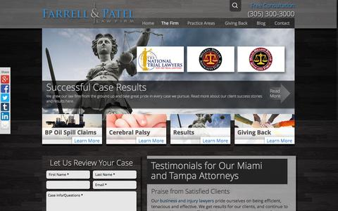 Screenshot of Testimonials Page farrellpatel.com - Testimonials for Our Miami and Tampa Attorneys - captured Feb. 9, 2016