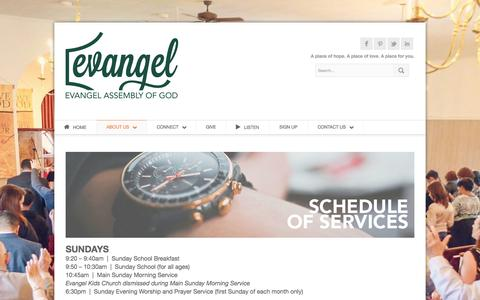 Screenshot of Services Page evangelpa.com - Schedule of Services « Evangel Assembly - captured Oct. 3, 2014