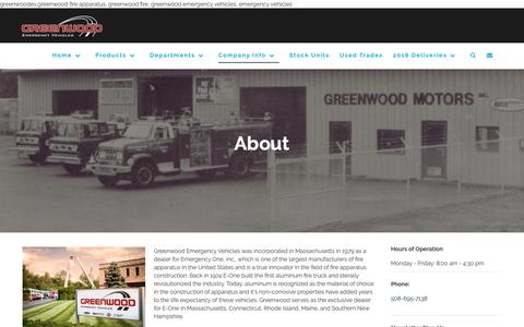 Screenshot of About Page greenwoodev.com - About – Greenwood Emergency Vehicles, LLC - captured Sept. 30, 2018