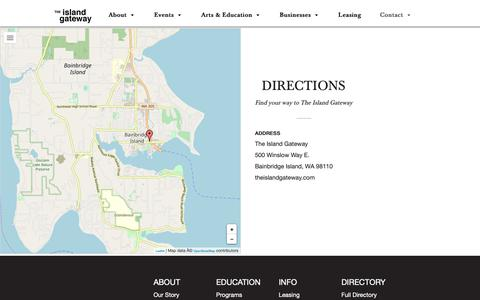 Screenshot of Maps & Directions Page theislandgateway.com - Directions to The Island Gateway, Hwy 305 and Winslow Way, Bainbridge Island, WA | Island Gateway - captured Oct. 20, 2018