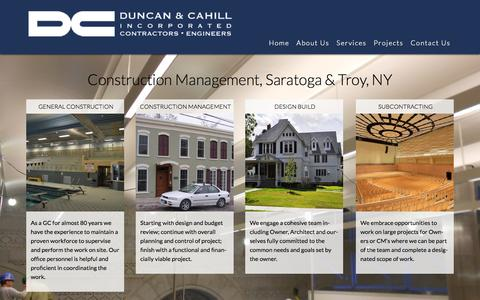 Screenshot of Services Page duncancahill.com - Construction Services | Construction Management Firm | Saratoga & Troy, NY - captured Nov. 3, 2014