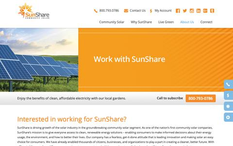 Screenshot of Jobs Page mysunshare.com - Careers - SunShare Community Solar Gardens | Community Solar Projects | Renewable Energy Solar Farms - captured Oct. 19, 2018