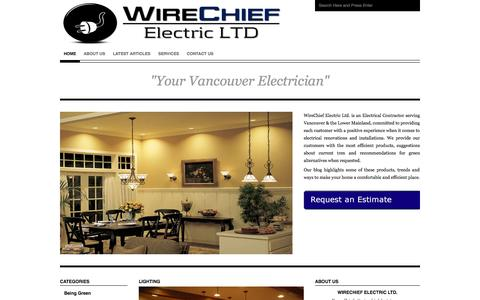 Screenshot of Home Page Blog vancouverelectricianblog.com - Your Vancouver Electrician | WireChief Electric's Blog - captured Oct. 10, 2014