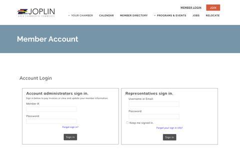 Screenshot of Login Page joplincc.com - Member Account - Joplin Area Chamber of Commerce - captured Jan. 4, 2020