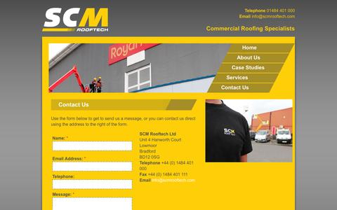 Screenshot of Contact Page scmrooftech.com - Commercial & Industrial Roofing Specialists in Bradford & West Yorkshire | SCM Rooftech - captured Sept. 30, 2014