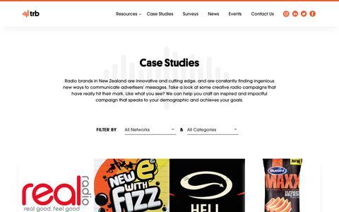 Screenshot of Case Studies Page trb.co.nz - Radio case studies     The Radio Bureau - captured Oct. 18, 2018