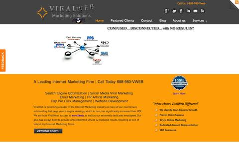 Screenshot of Home Page viralweb.net - Viralweb-Web Design and SEO Services-call (888) 980-VWEB « Viralweb-Web Design and SEO Services-call (888) 980-VWEB - captured Oct. 9, 2014