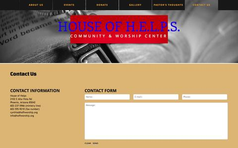 Screenshot of Contact Page hofhworship.org - Contact Us  |  House of H.E.L.P.S. - captured Oct. 3, 2014