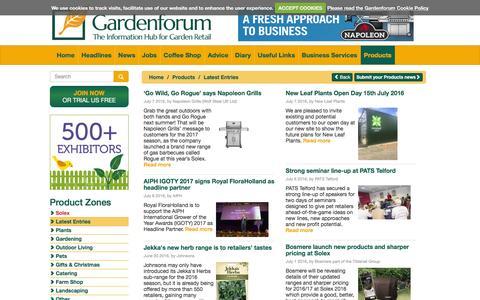 Screenshot of Products Page gardenforum.co.uk - Gardenforum Products - captured July 11, 2016