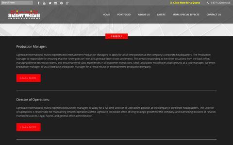 Screenshot of Jobs Page lasershows.net - Lightwave International | Jobs and Careers at Lightwave International - captured Oct. 3, 2014