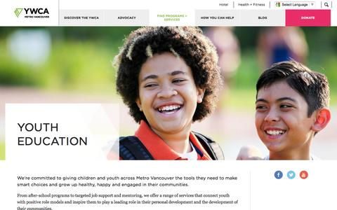 Screenshot of Support Page ywcavan.org - Youth Education - captured Nov. 2, 2014