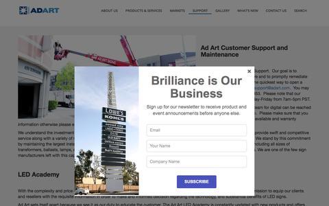 Screenshot of Support Page adart.com - Support - Ad ArtAd Art - captured Oct. 7, 2017
