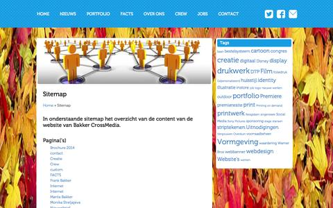 Screenshot of Site Map Page bakkercrossmedia.nl - Sitemap - Bakker CrossMediaBakker CrossMedia - captured Oct. 29, 2014