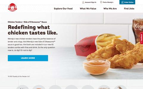 Screenshot of Home Page wendys.com - Fresh Fast Food Near You – Wendy's – Quality Is Our Recipe - captured Nov. 6, 2017