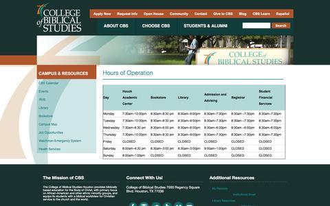 Screenshot of Hours Page cbshouston.edu - Hours of Operation | College of Biblical Studies - captured Jan. 29, 2016