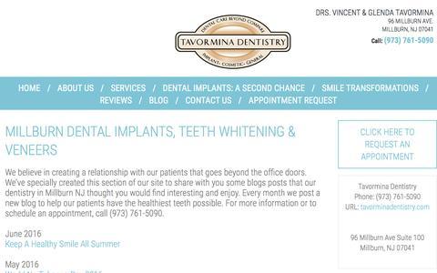 Screenshot of Blog tavorminadentistry.com - Millburn NJ Dentist, Millburn Family Dentist, Dentist 07041 - Blog - captured Aug. 12, 2016