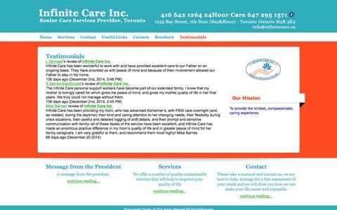 Screenshot of Testimonials Page infinitecare.ca - Testimonials  | Infinite Care Inc. - captured Feb. 4, 2016
